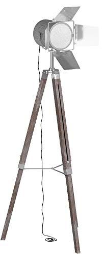 Stehlampe mit Stativ aus Holz - EEK: A++ bis E, E27, Höhenverstellbar max. 148 cm, Vintage, Retro - Tripod lampe, Dreifuss Stehleuchte, Standleuchte, Studiolampe - für Wohnzimmer, Schlafzimmer, Büro