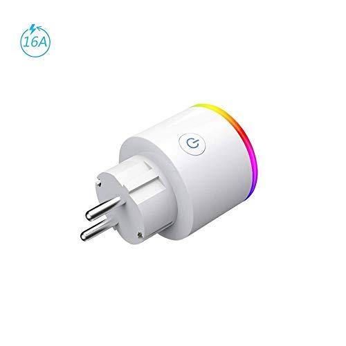 Presa Intelligente EMC Italy | Spina WiFi con LED RGB e Monitor Consumo Elettrico | Compatibile con Amazon Alexa, Google Home per iOS / Android | Funzione Timer e Temporizzazione | Potenza 16A - 3680W
