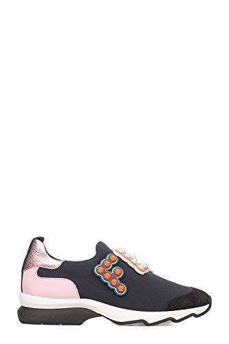 Fendi Damen 8E6673a15bf1129 Schwarz/Rosa Polyamid Sneak away On Sneakers
