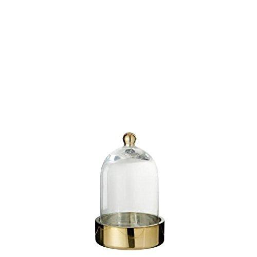 Cloche verre déco 13x13x20 cm or et transparent