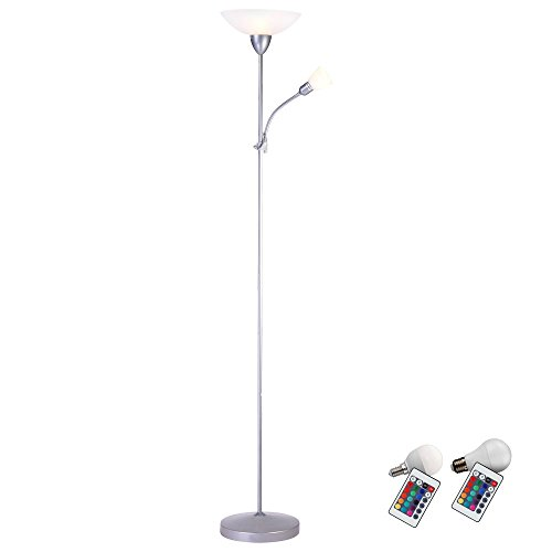 Decken Fluter Steh Lampe Fernbedienung Lese Leuchte im Set inklusiver RGB LED Leuchtmittel