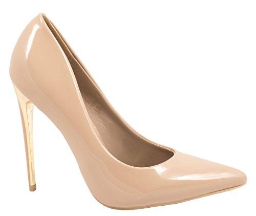 Elara Spitze Damen Pumps | Bequeme Lack Stilettos | Elegante High Heels 66-29-Beige-39