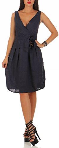 malito Damen Leinenkleid im Klassik Design | elegantes Cocktailkleid | schickes Abendkleid | Partykleid - A linie 8147 (dunkelblau, L)
