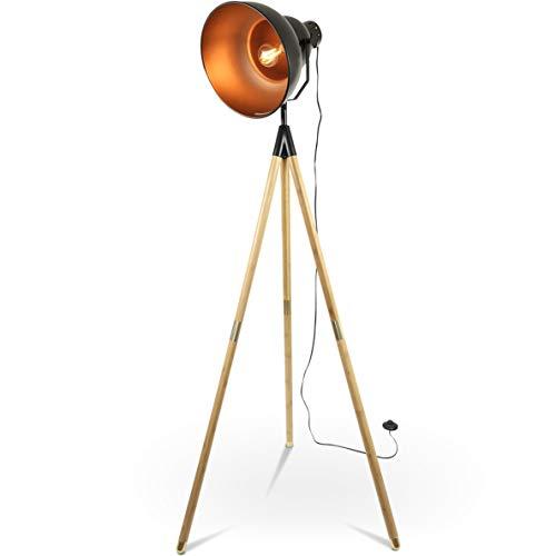 Tripod Dreifuß Stehlampe Tischleuchte Industrial Retro Design Stehleuchte höhenverstellbar (Schwarz Braun) - Design-stehlampe