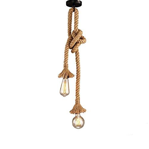 Vintage Seil Messing Hängelampe mit Edison Nostalgie 40W Glühbirne - Antik Retro Seilleuchte 2 Lampen Pendelleuchte E27 Lampe Fassungen. (ohne Birne) , 150CM