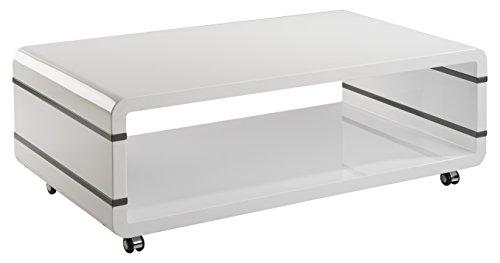 CAVADORE Couchtisch SPACE/Beistelltisch auf Rollen in Hochglanz Weiß lackiert/Seitliche Applikationen in grau/Ablagefläche auf 2 Ebenen/110 x 60 x 38 cm (B x T x H)
