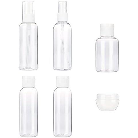Conjunto de botella Sannysis botes de viaje silicona, botes de viaje avion compresible 6PCS