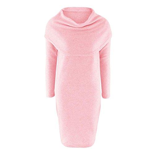 Amlaiworld Femmes Automne hiver Robe pull Bodycon revers Rose
