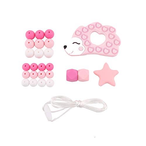 Promise Babe DIY Schnuller Clip Set fürs Kleinkind Silikon Kat Zahnen Perlen Kit Igel Schnullerhalter Pflege Halskette Anhänger Armband Zubehör - Wund-pflege-kit
