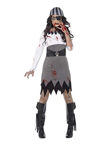 Smiffys 45525L - Damen Zombie Piratin Kostüm, Kleid, Kopftuch und Augenklappe, Größe: 44-46, grau