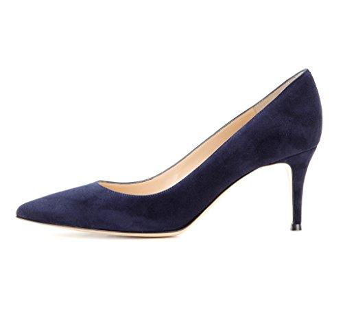 EDEFS Spitz Damen Pumps Klassische Kitten Heel Absatz Pointed Toe Schuhe Navy Größe EU45