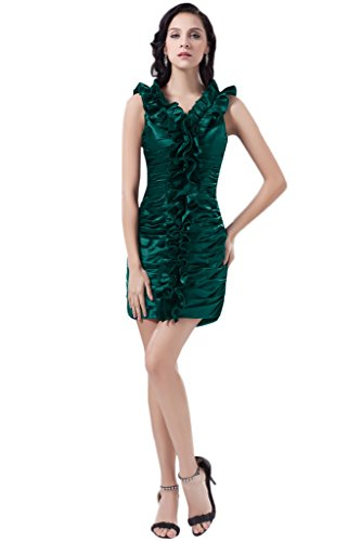 Missdressy Damen Elegant Charmeuse Falte Mini V-Ausschnitt Aermellos Etui-Linie Abendkleid Jaegergruen