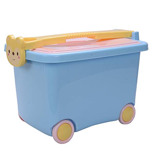 """Scrafts Blue Toy Stackable Organisers Storage Boxes for Kids With Handle & Wheel 12""""X10""""X9"""" Plastic Storage Box"""