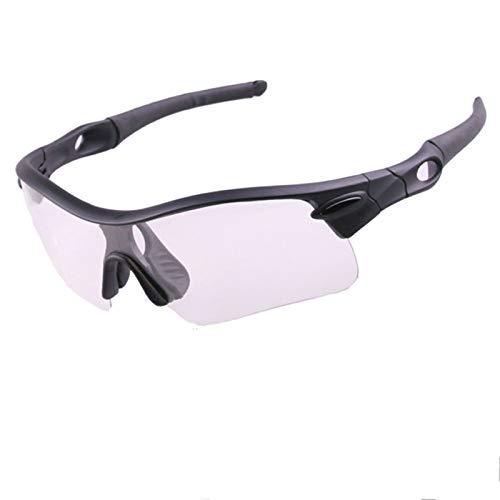 Aeici Sportbrille PC Radbrille Herren UV Motorrad Brillen Vintage Schwarz Klar&Gelb Linse