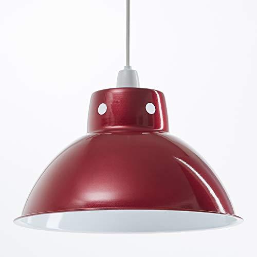 Funky Cafe Style Pendentif au plafond rétro en métal abat-jour en métal, Look Vintage industriel moderne, 300mm de diamètre - Rouge Métallique