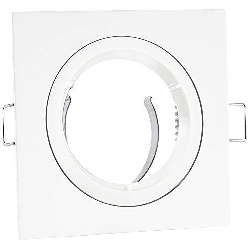 linovum® Einbaustrahler GU10 Einbaurahmen weiß eckig starr inkl. GU10 Lampen Fassung - Rahmen für LED, Halogen, MR16 -