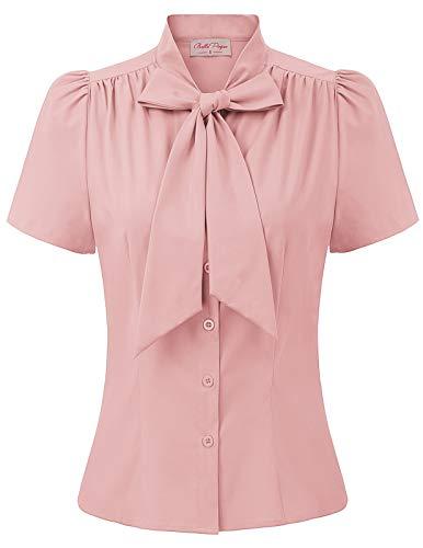 Frauen Alltag büro t-Shirt Rosa Oberteil Casual Sommer Tops Mode Bluse S BP819-5 -