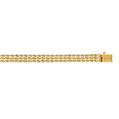 Luxurman 14K Yellow Solid Gold 4.5mm wide Diamond Cut Multi Line Rope Chain 8