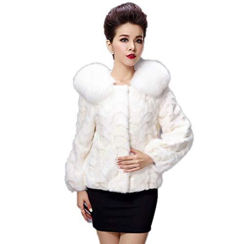 ZYJANO Warmer Mantel,Winterfrauen Natural Piece Kragen Lady Warm Overcoat Oberbekleidung Mäntel 3