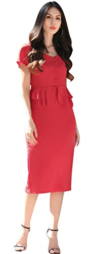 Jeansian Mode Femme Sexy Parti Robes Women Short Sleeves Lady OL Temperament Cocktail Slim Dresses WHS353 red