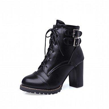Rtry Femmes Chaussures Pu Similicuir Automne Hiver Confort Nouveauté Mode Bottes Bottes Chunky Talon Bout Rond Bottines / Cheville Bottes Lacets Pour Partie Us5.5 / Eu36 / Uk3.5 / Cn35