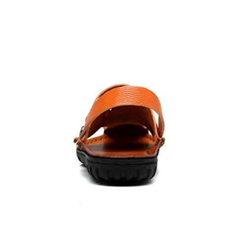 Herren Outdoor auf dem Strand Geschlossene Zehen Dicke Band mit Metallschnalle Anti-Rutsch Sohle Rückband Zehentrenner Slip-on Sandalen Orange