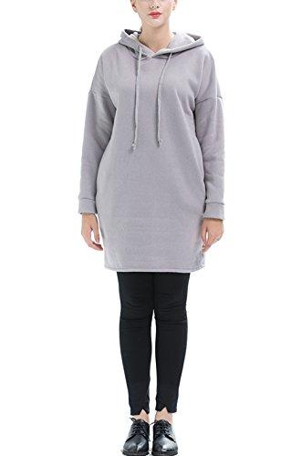 Beunique Femme Sweat-shirt Grande Taille à Capuche Sport Casual Chaud Mi-longue Veste Manches Longues Uni Gris