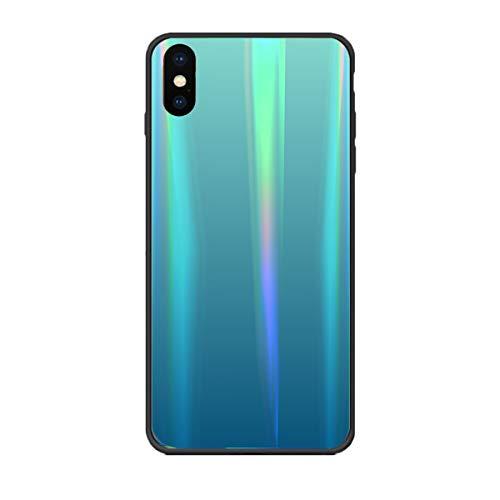 Alsoar Aurora Bunte Schutzhülle für Huawei Y6 Prime 2019/Y6 2019, Rückseite Hartglas Fantasie Regenbogen Gradient Schutzhülle Silikon TPU weich Bumper Kratzfest
