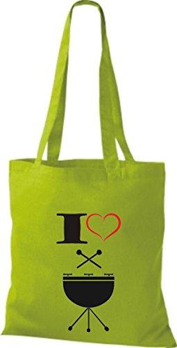Shirtstown Pochette en tissu Musique I Love Steel Pan Vert - Citron vert