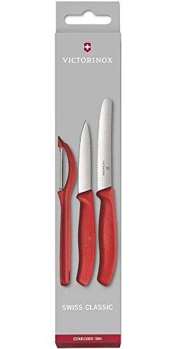 Victorinox Swiss Classic Gemüsemesser-Set, 3-tlg., Universalschäler, Gemüsemesser 8 cm, Tomatenmesser 11 cm -