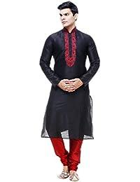 PinkCityCreations Mens Kurta Pajama Wedding Black Silk India Party Wear Set of 2