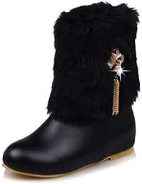 Mujeres Botas de Nieve otoño Invierno cálido Felpa Zapatos Mediados de la Motocicleta Botas de la