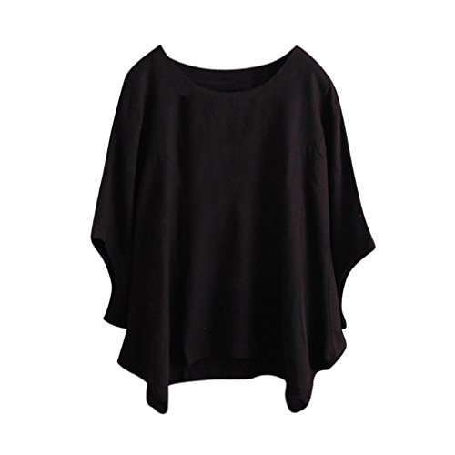 ESAILQ Damen Sportlich T-Shirt V Ausschnitt Kurzarm Top(XL,Schwarz)