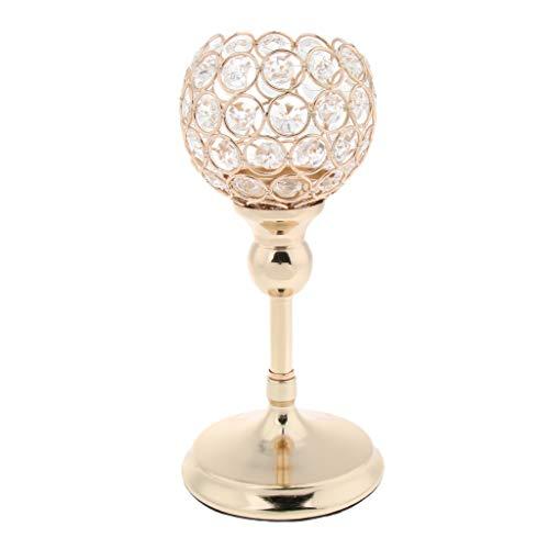 LOVIVER Romantische Kristall Kerzen Halter Ständer Leuchter Kerzenhalter Schöne - 25 cm Gold -