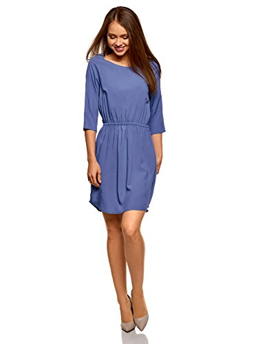oodji Ultra Damen Viskose-Kleid mit 3/4-Arm, Blau, DE 42/EU 44/XL