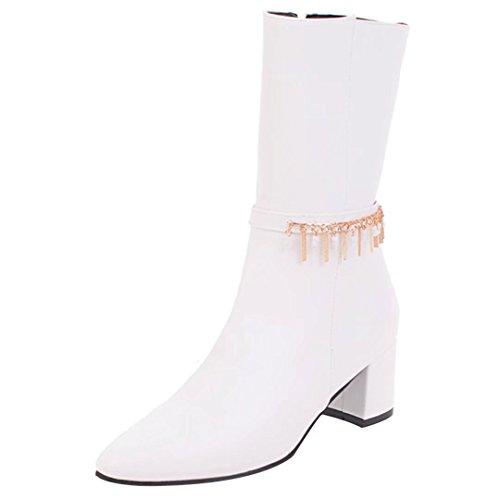 AIYOUMEI Damen Chunky Heel Halbstiefel mit 5cm Absatz und Reißverschluss Elegant Mid Calf Stiefel (Stretch-mid Calf Boot)