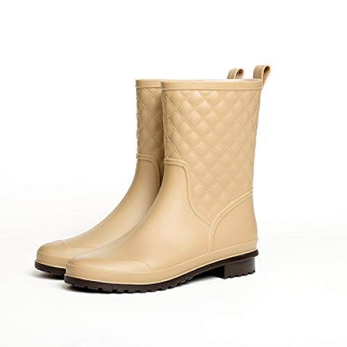 FEELHH Warm Rain Boots,Women Lightweight On Comfy Non Slip Pvc Waterproof Wellies Mid Calf Rubber Winter Warm