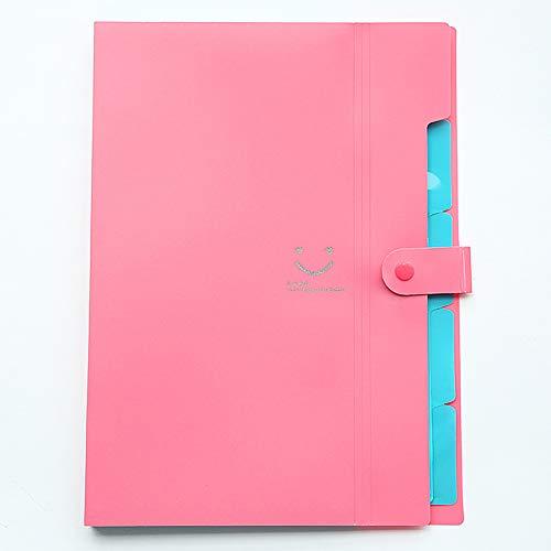 SqsYqz Ordner Multi-Layer-Student A4 Orgel Tasche Test Büroklammer Datei Tasche Büroklammer Aufbewahrungspaket,Pink