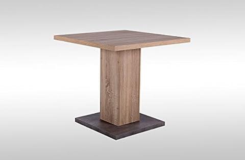 Esstisch, Tisch, Küchentisch, Esszimmertisch, Säulentisch, quadratisch, Tischplatte und Gestell Sonoma Eiche NB, Boden Betonoptik