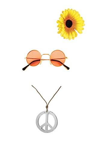 Mädels Hippie Set Flower Power orange (John Lennon Kostüm Brille)