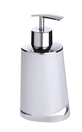 WENKO 20257100 Seifenspender Paradise White, Fassungsvermögen 0.24 L, Kunststoff - Acryl, 8 x 16.3 x 6.6 cm, Weiß