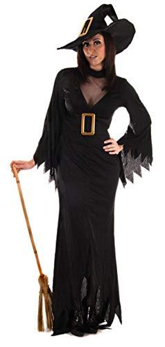 Hexe Kostüm Plus Gothic - Fancy Me Damen Knöchellang Deluxe Gothic-Hexe Halloween Kostüm Kleid Outfit STD & Plus - Schwarz, Plus (UK 16-20)