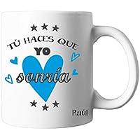Regalo Original/Taza con Texto Personalizada/Azul/Pareja/Enamorados/Amigo/Amiga/Hombre/Mujer/Chico/Chica/Novia/Novio/Aniversario/San Valentin/Cumpleaños/Navidad