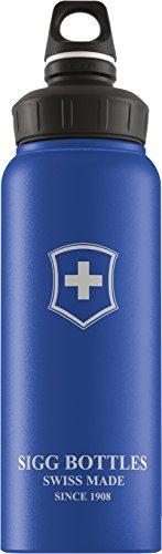 SIGG WMB Swiss Emblem Blue Touch, Wandern Trinkflasche, 1 L, BPA Frei, Aluminium, Blau