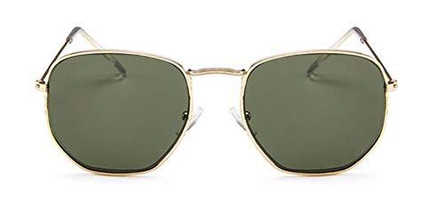 WSKPE Sonnenbrille Sonnenbrille Frauen Kleinem Rahmen Polygon Klare Gläser Sonnenbrillen Herren Sonnenbrillen Hexagon Metallrahmen Dunkel Grüne Linse