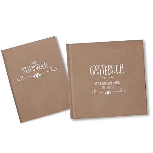 bigdaygraphix Stamm- und Gästebuch der Familie Familienstammbuch Gästebuch Hochzeit Simple Vintage weiß