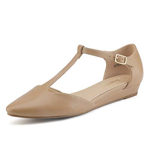 Wildleder Ballerinas Schuhe (DREAM PAIRS Estella Damen Ballerinas Nackt Pu 40 EU/9 US)