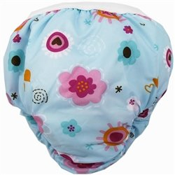 Kushies Kushies Potty Taffeta Training Pants - Medium - Blue Flowers
