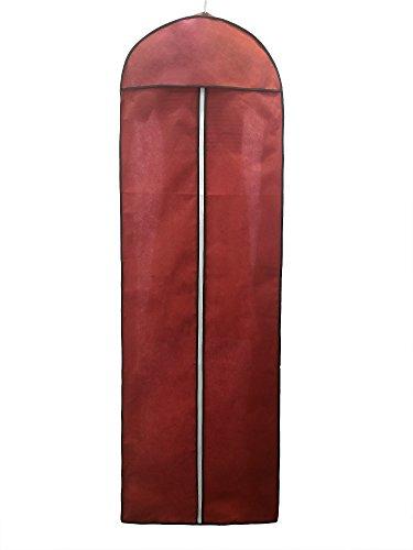 TUKA Atmungsaktiver Kleidersack 180cm, Schutzhülle für Brautkleider/Abendkleider / Anzüge/Mäntel, Langer Reissverschluss - Dunkelrot, TKB1005 DarkRed