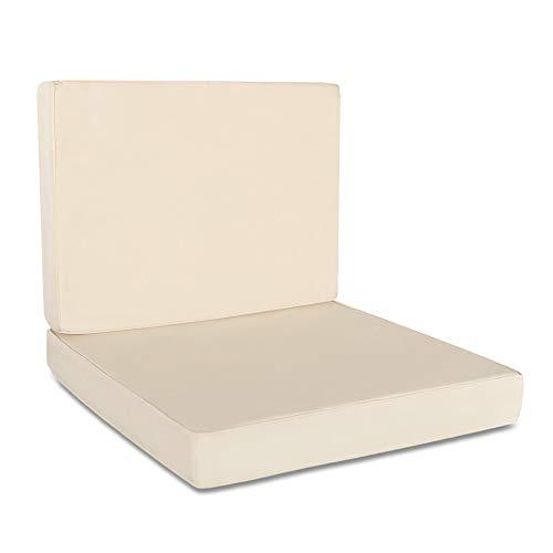 Delindo Lifestyle® Outdoor Lounge Sitzkissen und Rückenkissen Bezüge Rio, 60x60 x7 cm, 60x40 x7 cm, beige, Teflon, UV- und wasserabweisend, Ersatzkissenbezüge